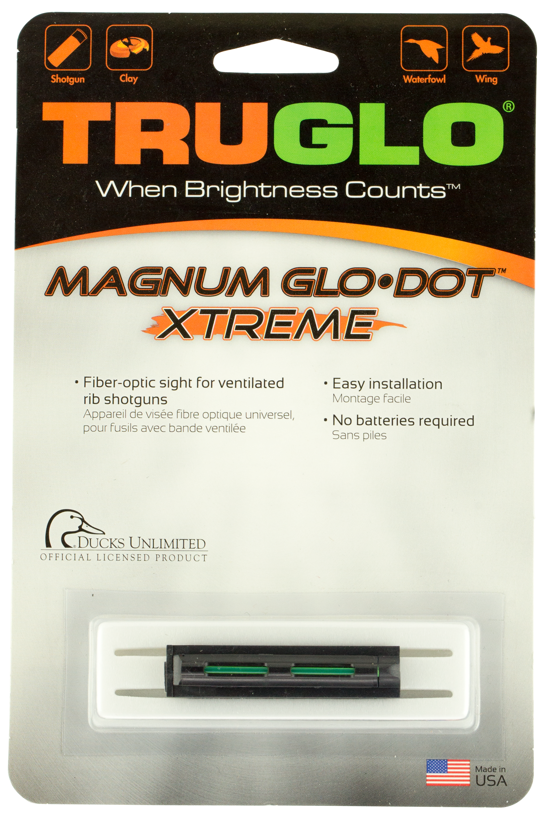 Truglo TG911XB Magnum Glo-Dot Xtreme Shotgun Sight - Fiber Optic Green Black
