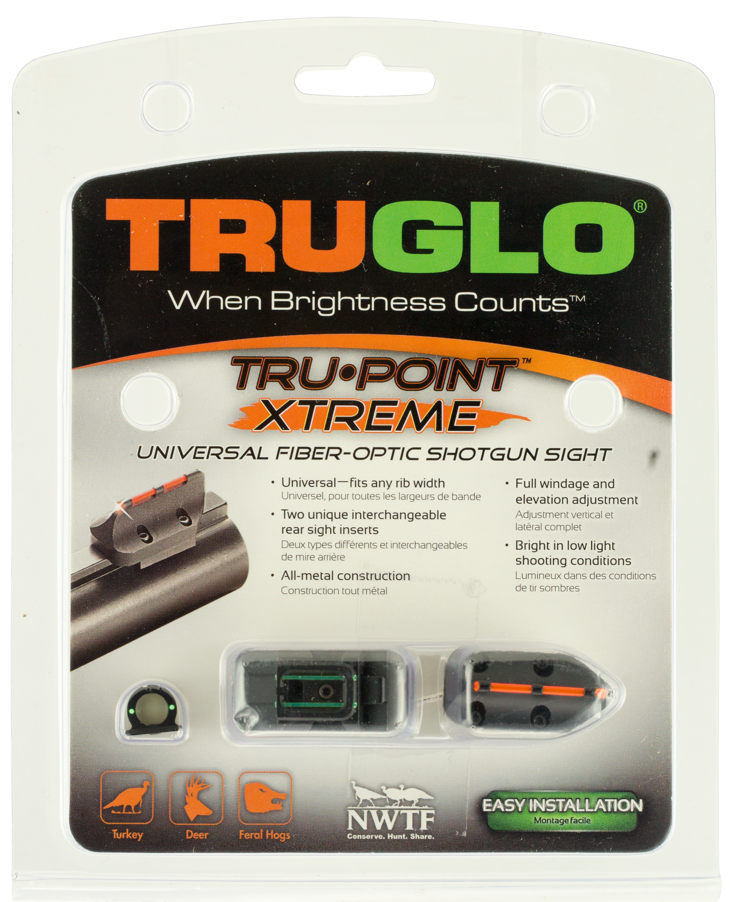 Truglo TG960 Tru-Point Xtreme Universal Shotgun Sight  - with Ghost Ring Shotgun Fiber Optic Red Front/Green Rear Black