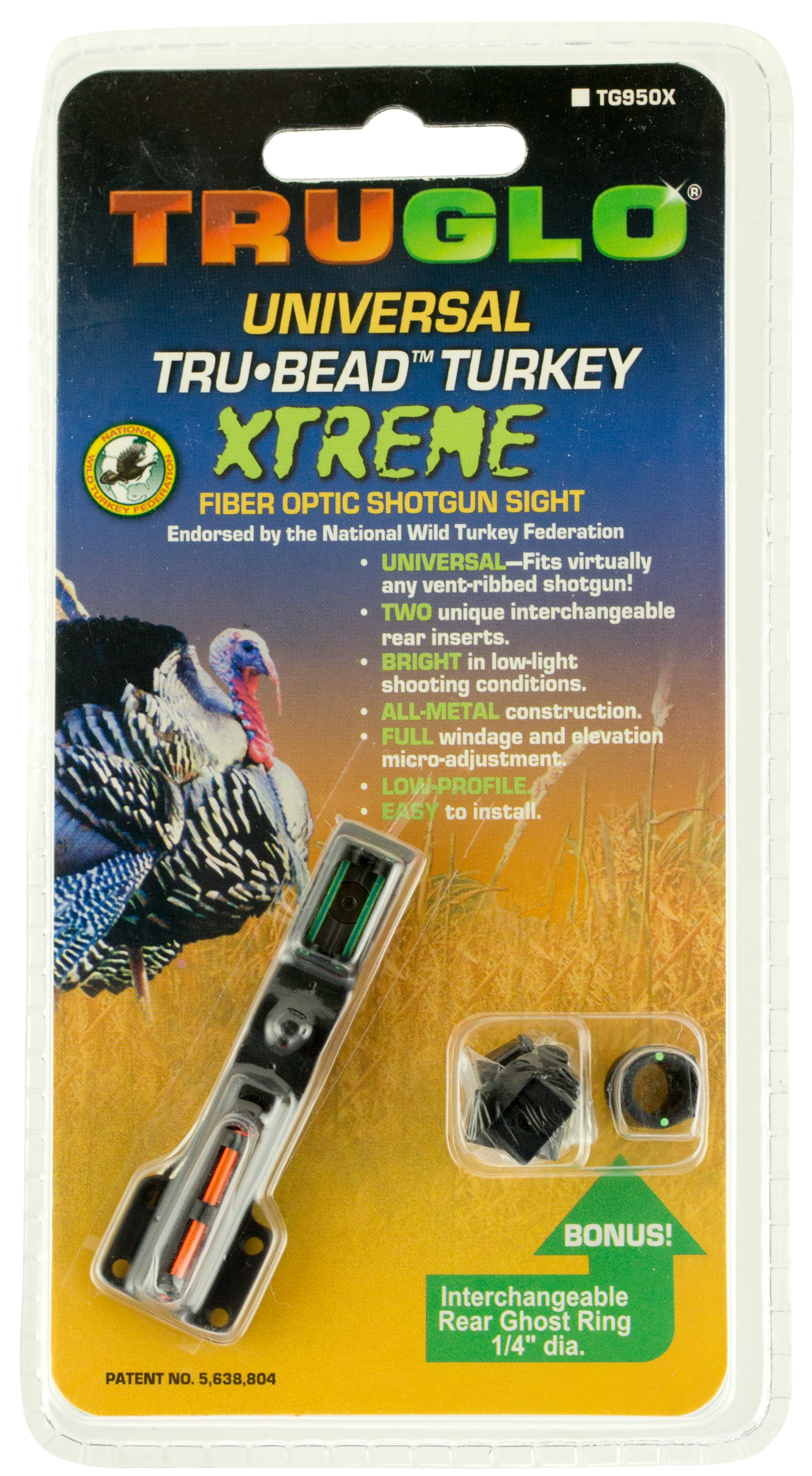 Truglo TG950X Tru-Bead Universal Shotgun Sight - with Ghost Ring Shotgun Fiber Optic Red Front/Green Rear Black